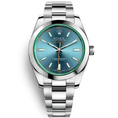 Rolex Milgauss 116400 Replica Sky Blue Dial Men 40mm Watch