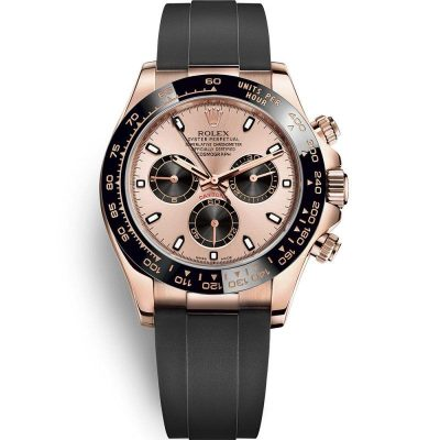 Rolex Daytona 116515ln Men 40mm Rose Gold Dial Rubber Watch