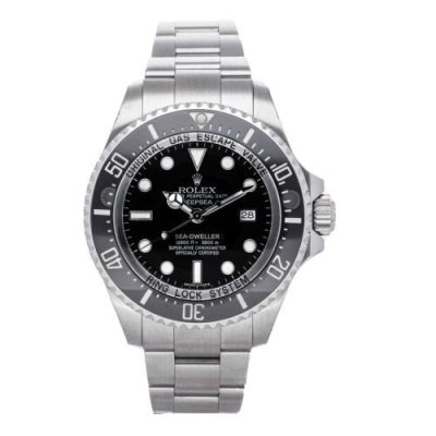 Rolex Deepsea 116660 Replica 44mm Men Black Dial Silver Steel Watch