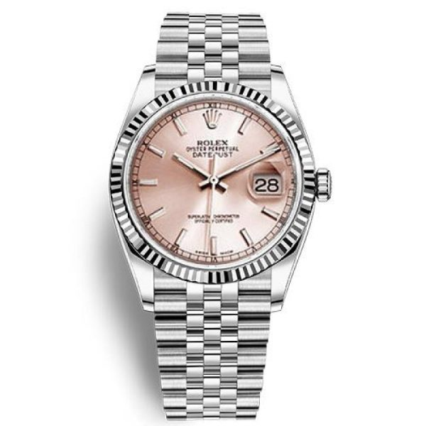 Rolex Datejust 116234 Replica Pink Dial Lady 36mm Silver Watch