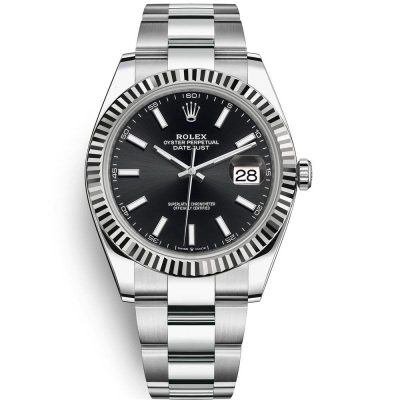 Rolex Datejust 126334 Men 41mm Black Dial Silver Frame Watch