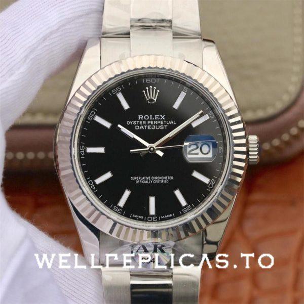 Rolex Datejust 126334 Men 41mm Black Dial Silver Frame Watch