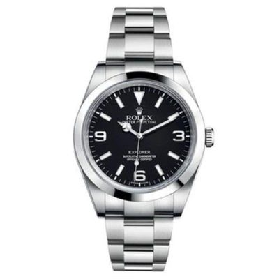 Rolex Explorer 214270 Men Black Dial Silver Frame 39mm Watch