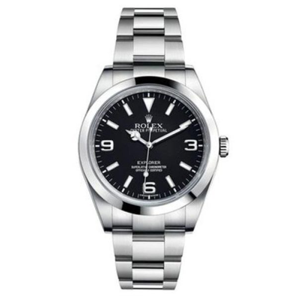 Rolex Explorer 214270 Men Black Dial Silver Frame 39mm Watch