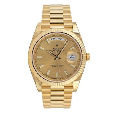Rolex Day-Date 228238 Replica 40mm Golden Dial Men Gold Steel Watch