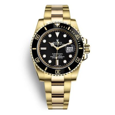 Rolex Submariner 116618 Replica Men 40mm Black Dial Gold Steel Watch