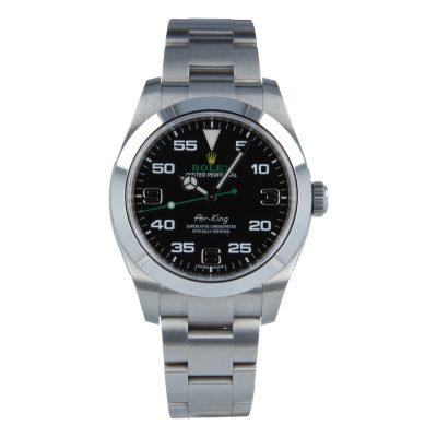 Rolex Air-King 116900 Replica Men 40mm Black Dial Silver Steel Watch