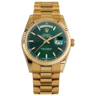 Rolex Day-Date 118238 Replica 36mm Green Dial Men Gold Steel Watch