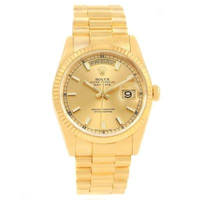 Rolex Day-Date 118238 Replica 36mm Golden Dial Steel Men Watch