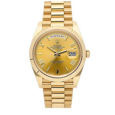 Rolex Day-Date 228238 Replica Men 40mm Golden Dial Gold Steel Watch