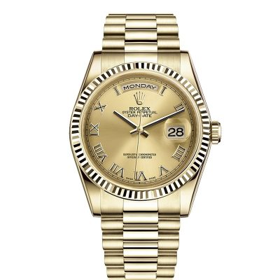 Rolex Day-Date 118238 Replica 36mm Golden Dial Men Gold Steel Watch