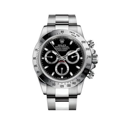 Rolex Daytona 116520 Replica Black Dial 40mm Men Silver Steel Watch
