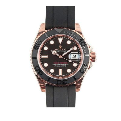 Rolex Yacht-Master 116655 Replica Men 40mm Black Dial Rubber Watch