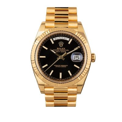 Rolex Day-Date 228238 Replica Men 40mm Black Dial Gold Steel Watch